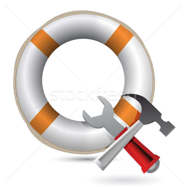 Lifesaver and Tools illustration design over white Stock photo © alexmillos