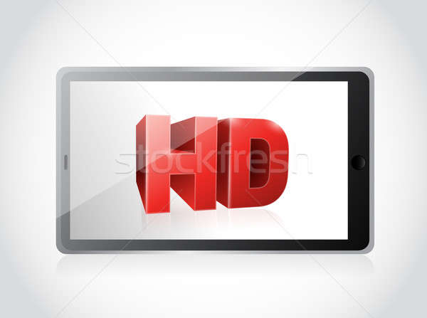 tablet with a hd screen. illustration design over a white Stock photo © alexmillos