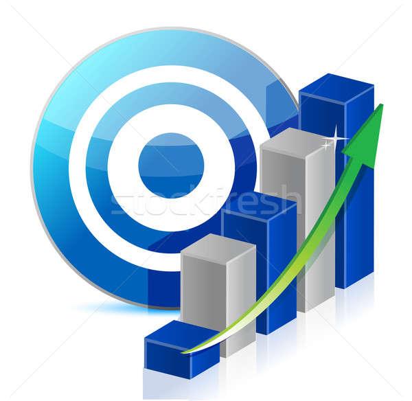 Stockfoto: Target · business · illustratie · ontwerp · witte · Blauw