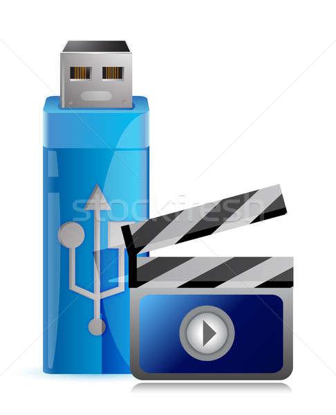Usb flash drive multimídia vídeo ilustração gráfico Foto stock © alexmillos