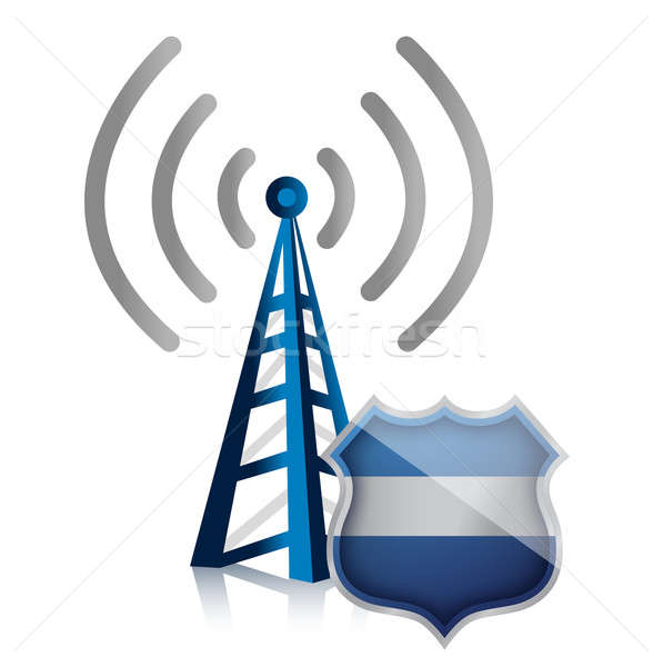 wifi hotspot protected by shield security illustration design Stock photo © alexmillos