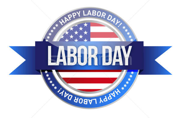 labor day. us seal and banner illustration design Stock photo © alexmillos