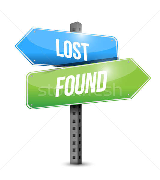 lost and found road sign illustration design over white Stock photo © alexmillos