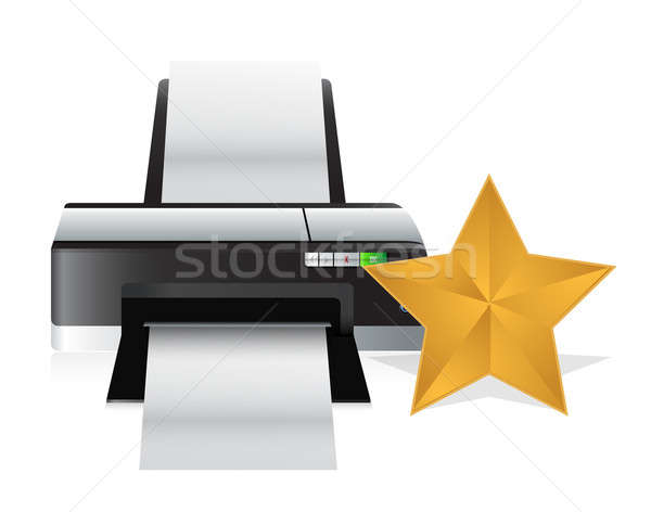 gold star review concept illustration design over white Stock photo © alexmillos