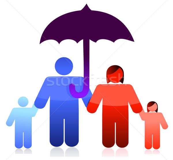защищенный семьи гнева зонтик иллюстрация дизайна Сток-фото © alexmillos