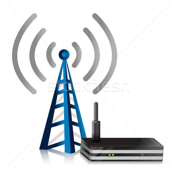 Wireless Router Turm Illustration Design weiß Stock foto © alexmillos