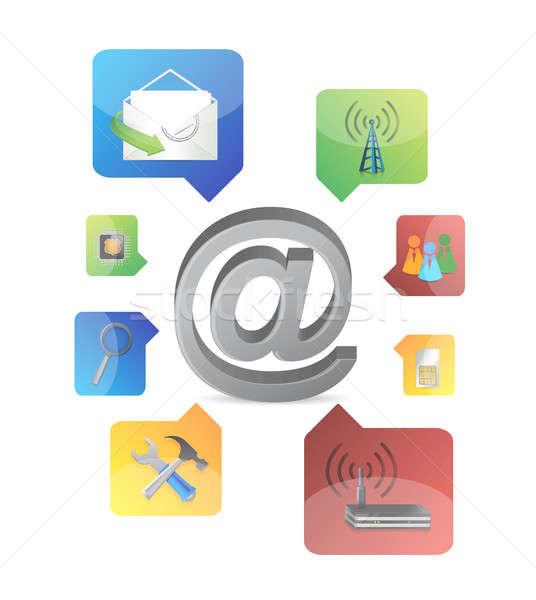 Segno icone illustrazione design bianco telefono Foto d'archivio © alexmillos