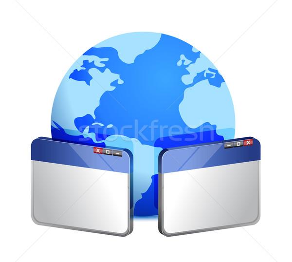Navegador Windows mundo ilustración diseno blanco Foto stock © alexmillos