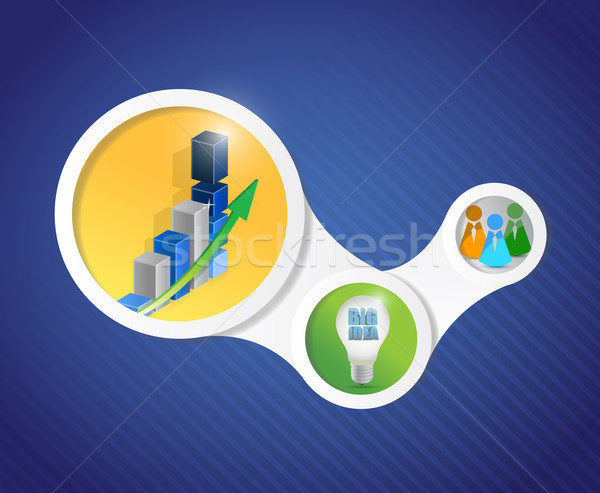 business diagram infographics illustration design over a blue ba Stock photo © alexmillos