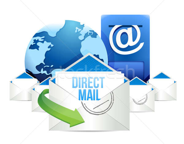 Direct mail Blue Mailbox with Mails global  Stock photo © alexmillos