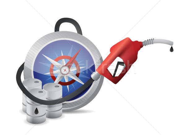 Compass guide with a gas pump nozzle Stock photo © alexmillos