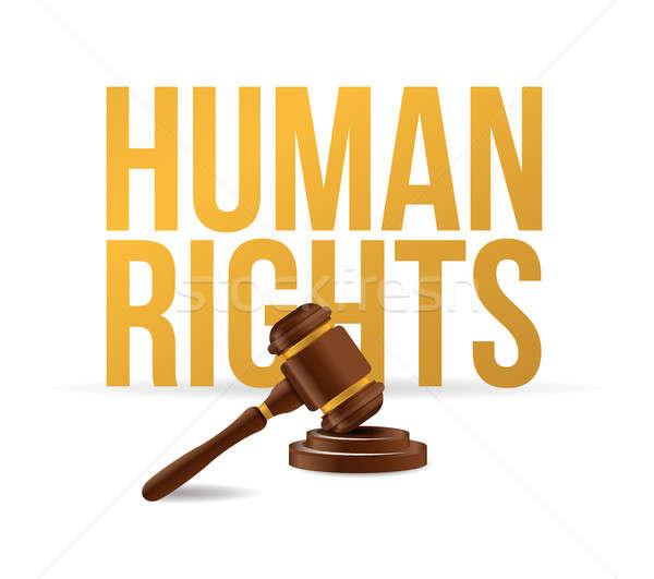 human rights law hammer illustration design Stock photo © alexmillos