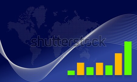background with creative bar graphs and map Stock photo © alexmillos