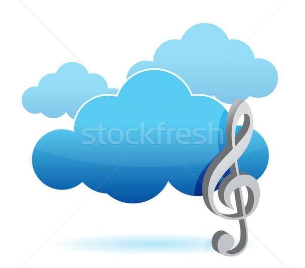 Chmura muzyki przechowywania ilustracja projektu biały Zdjęcia stock © alexmillos