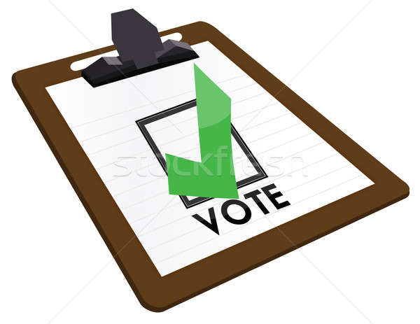 Clipboard Checkbox with green checkmark and the word vote. Stock photo © alexmillos