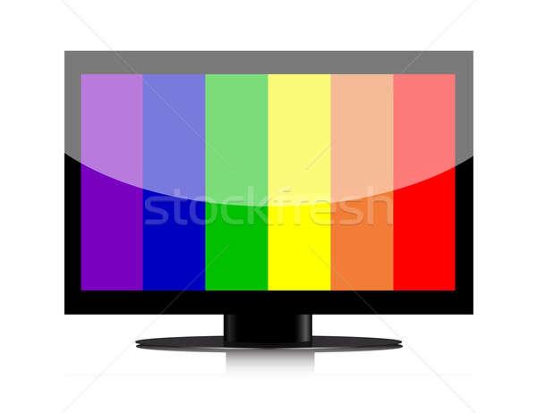LCD televízió nem jel fal otthon Stock fotó © alexmillos