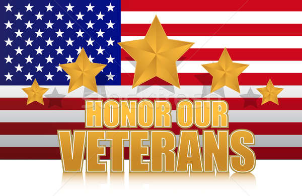 us honor our veterans gold illustration sign design on white Stock photo © alexmillos