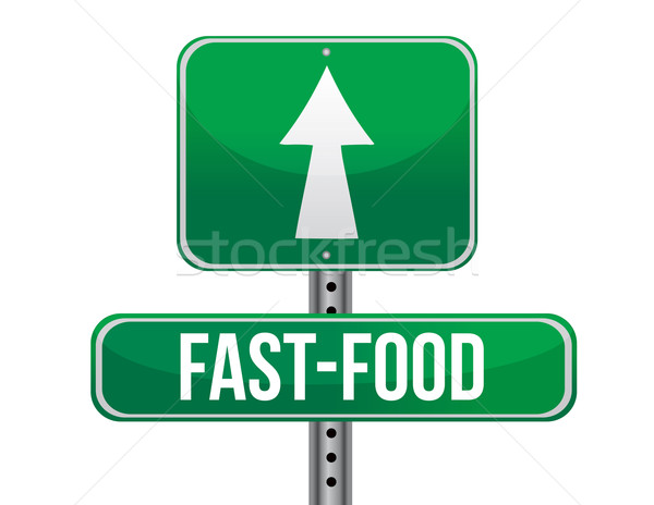 Fast-food yol işareti örnek dizayn beyaz gıda Stok fotoğraf © alexmillos