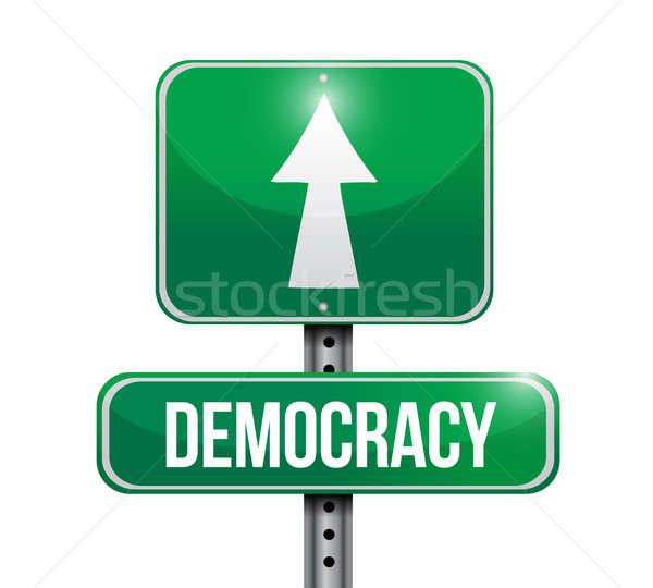 демократия дорожный знак иллюстрация дизайна белый правосудия Сток-фото © alexmillos