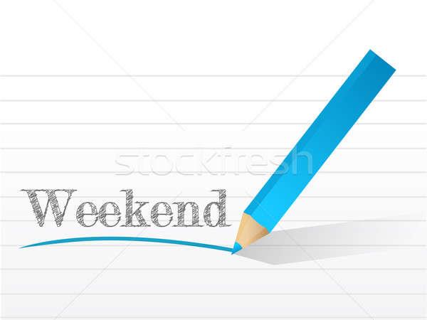 Week-end écrit notepad papier illustration design Photo stock © alexmillos