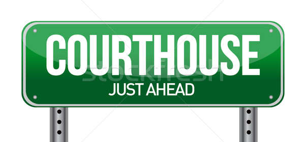 courthouse road sign illustration design over a white background Stock photo © alexmillos