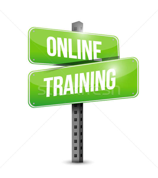 online training road sign illustration design over a white backg Stock photo © alexmillos
