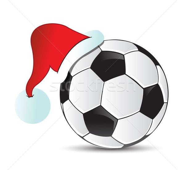 Soccer Santa Cap illustration design over a white background Stock photo © alexmillos