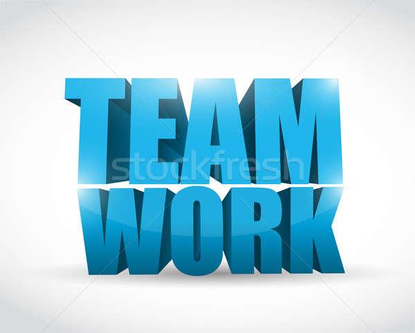 3d tekst teamwerk illustratie ontwerp witte achtergrond Stockfoto © alexmillos