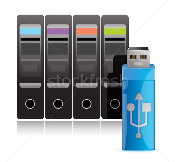 Computer USB disk drive illustration design over white Stock photo © alexmillos