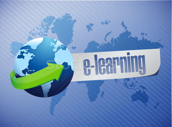 e learning globe concept illustration design over a world map ba Stock photo © alexmillos