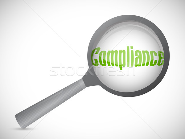 Magnifying glass showing compliance word on white background Stock photo © alexmillos