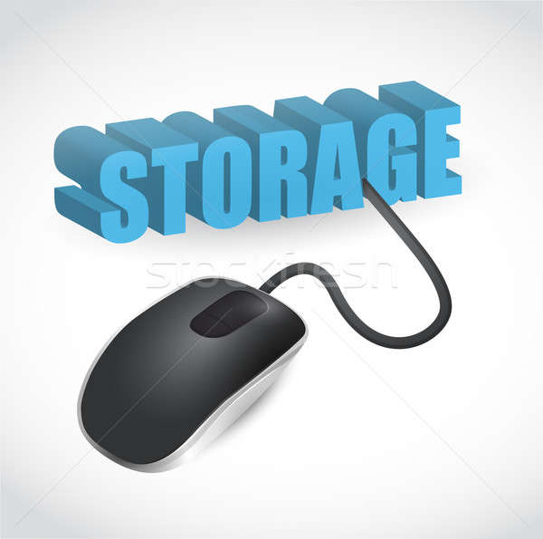 storage sign connected to mouse illustration design over white Stock photo © alexmillos