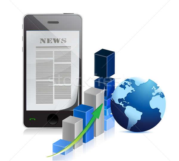 Telefon iş haber çubuk grafik örnek dizayn Stok fotoğraf © alexmillos