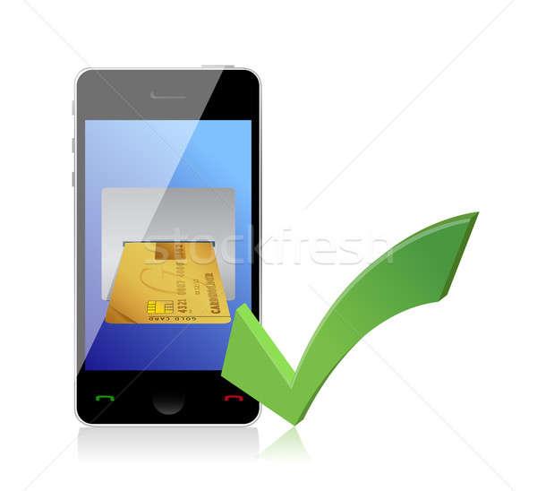 ストックフォト: を · 実例 · デザイン · 白 · 携帯 · 成功