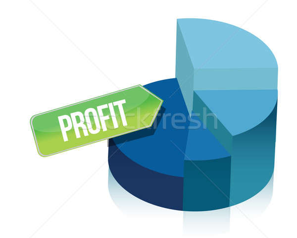 Stock photo: profit pie chart illustration over white background