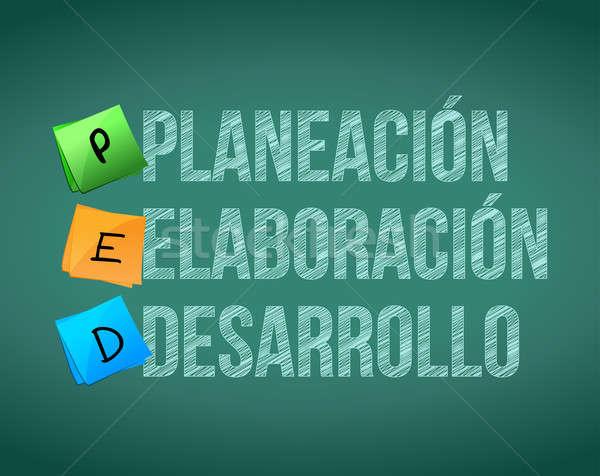 Planificare creare dezvoltare spaniol prezentare bord Imagine de stoc © alexmillos