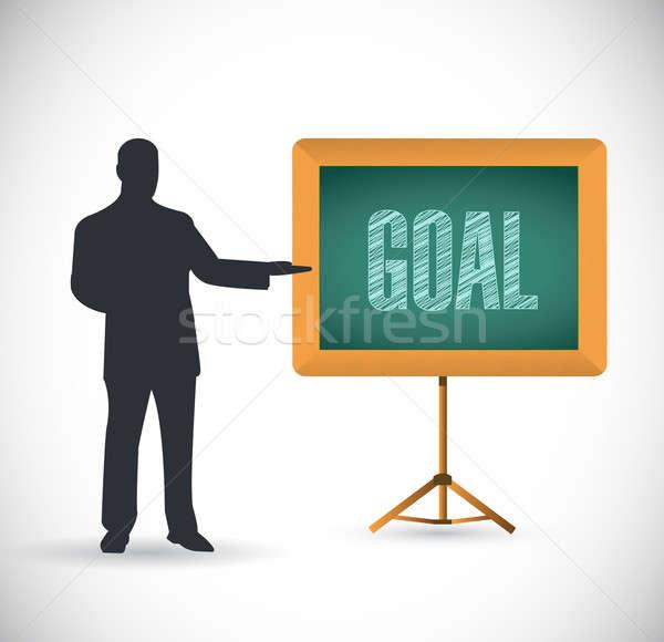 goal presentation concept illustration design over white Stock photo © alexmillos