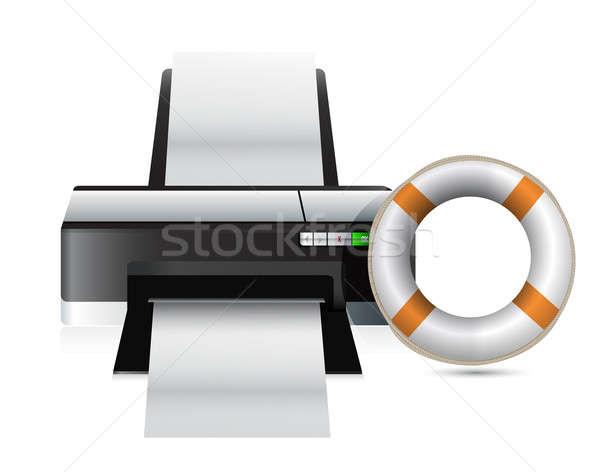 принтер СОС иллюстрация дизайна белый металл Сток-фото © alexmillos
