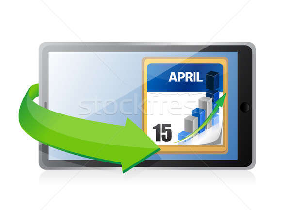 Tablet Tax Deadline Calendar illustration design Stock photo © alexmillos