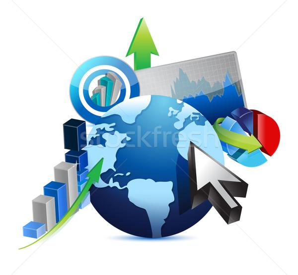 Negócios internacionais ilustração dinheiro abstrato bar financiar Foto stock © alexmillos