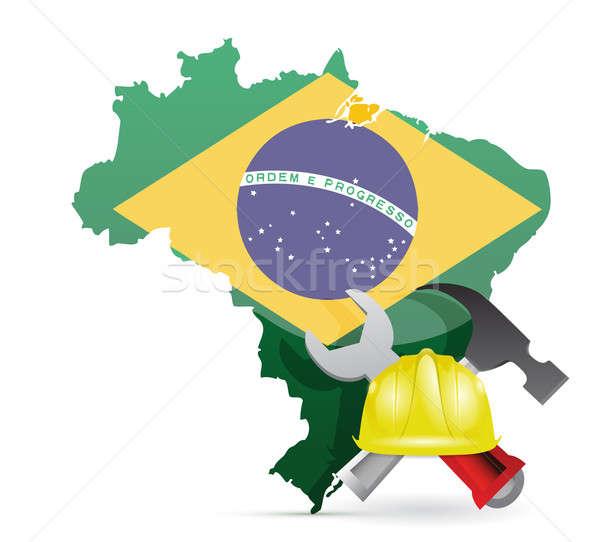 brazil under construction illustration design over a white backg Stock photo © alexmillos