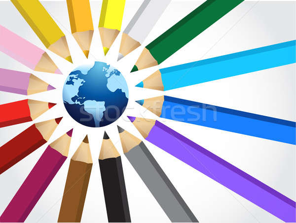 globe and Set of crayons illustration design on a white backgrou Stock photo © alexmillos