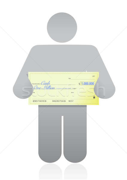 person with a big check in hand illustration design over white Stock photo © alexmillos