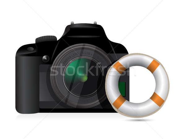 Caméra sos illustration design blanche corps Photo stock © alexmillos