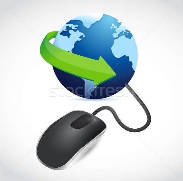 Bilgisayar fare mavi dünya modern siyah dünya Stok fotoğraf © alexmillos