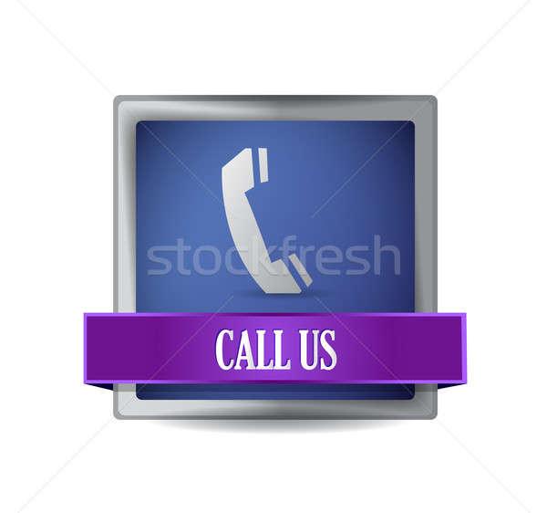 Telephone icon button illustration design Stock photo © alexmillos
