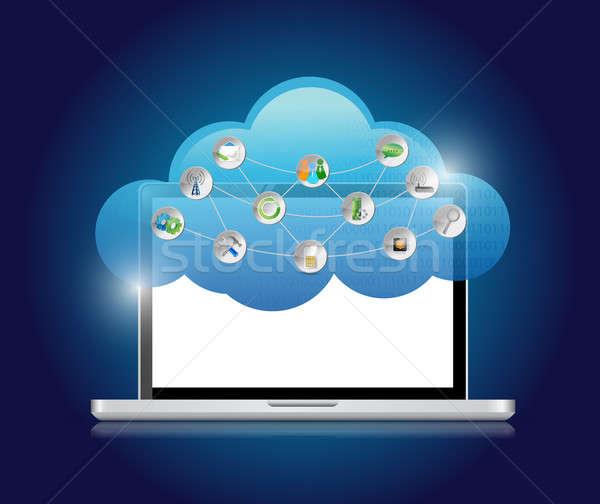 Ilustración diseno azul Internet grupo Foto stock © alexmillos