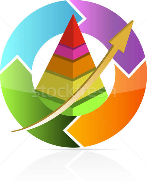Continuous business move pyramid chart illustration design Stock photo © alexmillos
