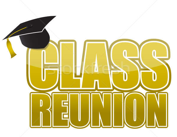 Class reunion Graduation cap isolated on white background. Stock photo © alexmillos