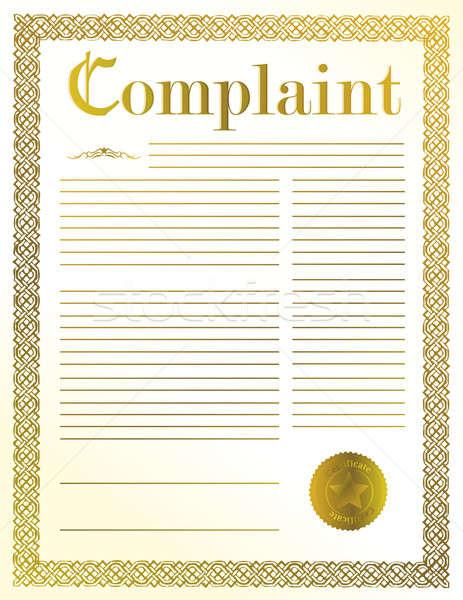 Klacht juridische document illustratie ontwerp gouden Stockfoto © alexmillos